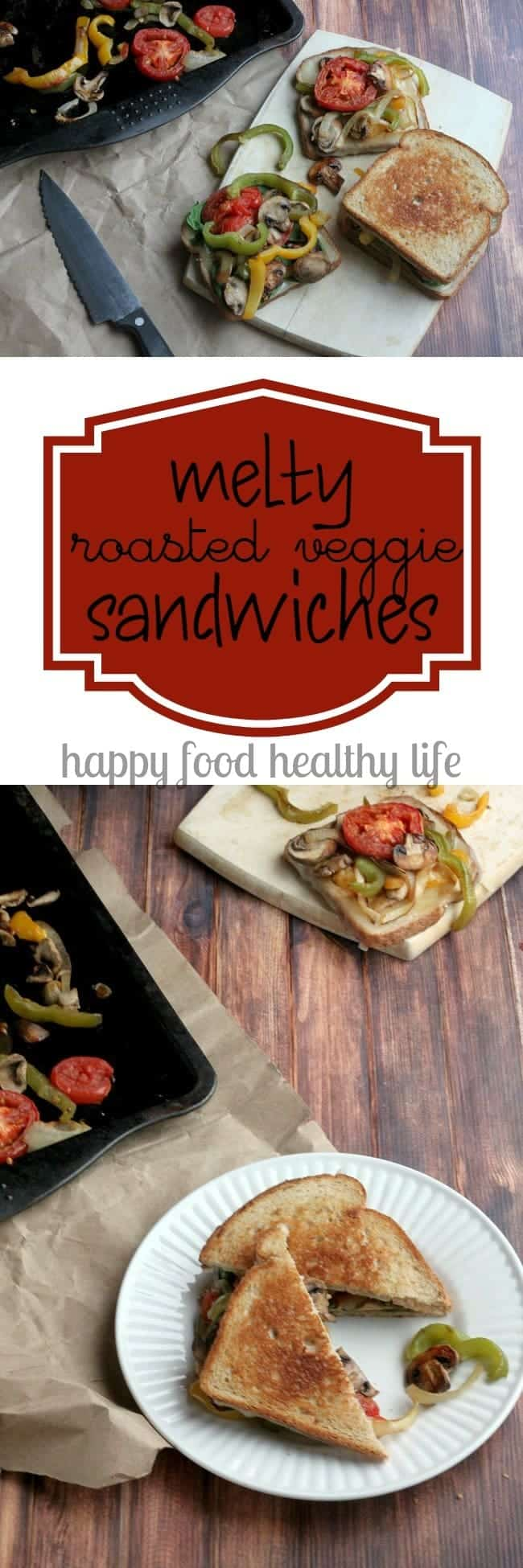 Melty Roasted Veggie Sandwich - an easy healthy sandwich that has comfort written all over it | www.happyfoodhealthylife.com