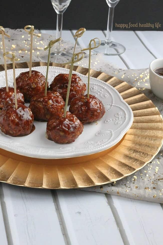 """Vegetarian Sweet & Sour Porcupine """"Meatballs"""" - this is hands-down the best meatless appetizer I've ever brought to a party - and they were gone in a flash! 