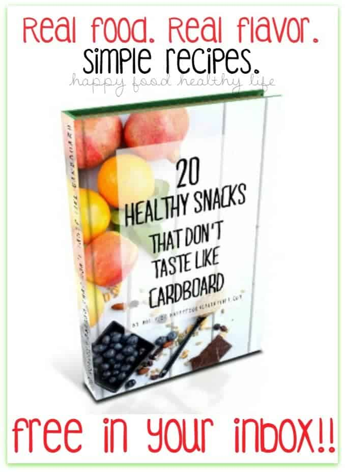 20 Healthy Snacks That Don't Taste Like Cardboard - A free collection of recipes right to your inbox! | www.happyfoodhealthylife.com