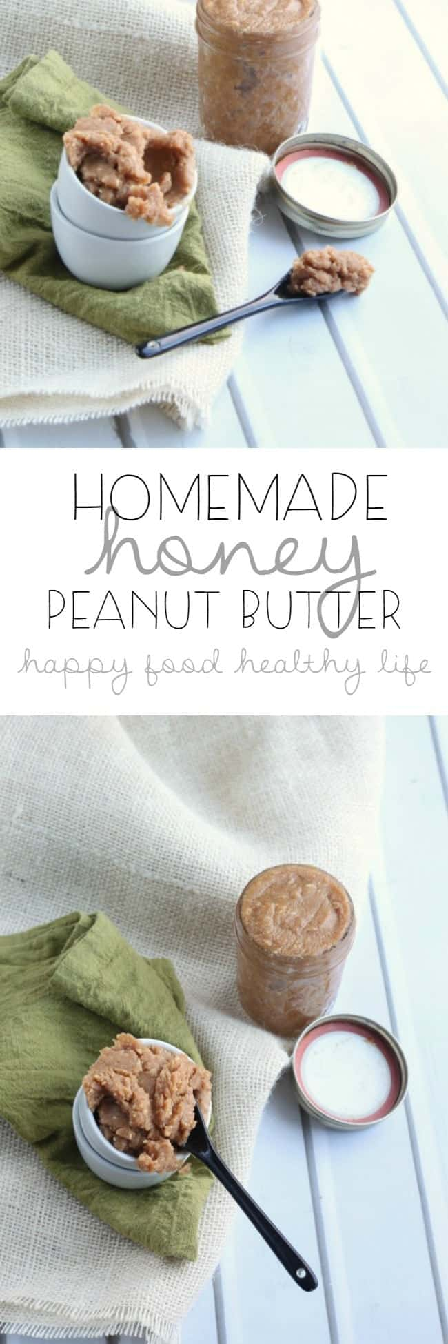Homemade Honey Peanut Butter. Easy to whip together in minutes. Only 3 natural ingredients. Nothing strange like what you get in the store! | www.happyfoodhealthylife.com