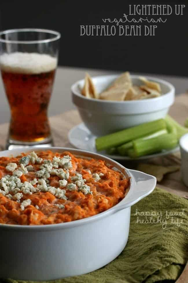 Lightened Up Vegetarian Buffalo Bean Dip - love chips and dip but want something lighter? this super addicting dip is the one for you! | www.happyfoodhealthylife.com