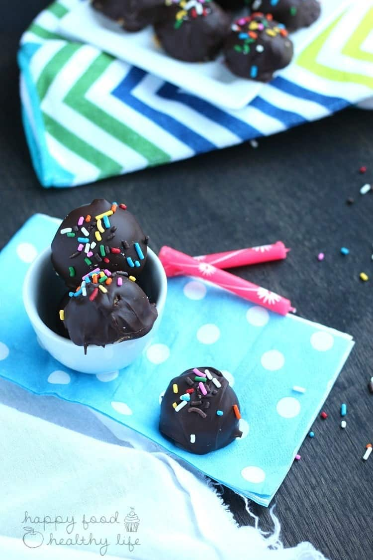 Lightened-Up Cake Batter Truffles - A delightful treat for a special occasion that's totally not that bad for you!   www.happyfoodhealthylife.com