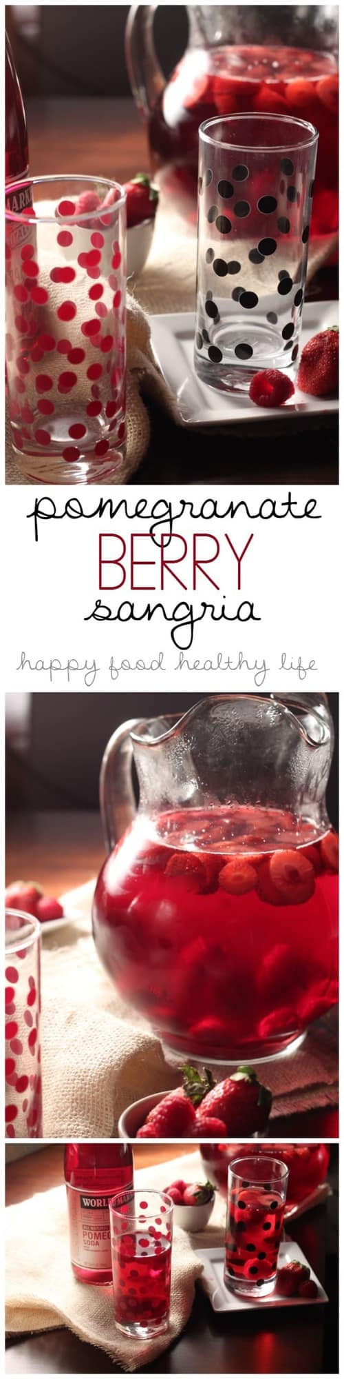 Pomegranate Berry Sangria - the perfect sweet drink to celebrate any occasion! | www.happyfoodhealthylife.com