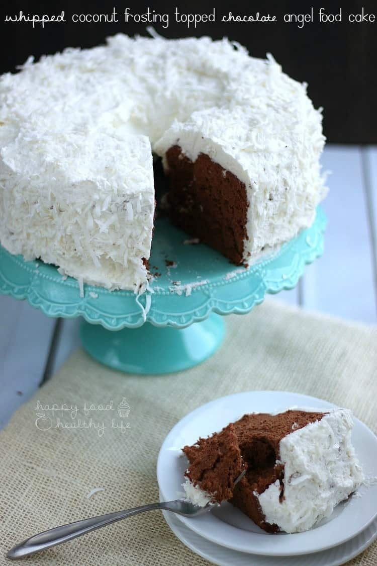Angel Food Cake With Chocolate Whipped Cream Icing