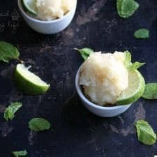 Mint Lime Sorbet - You will be so refreshed on warm days with this cool treat | www.happyfoodhealthylife.com