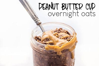 PEANUT BUTTER CUP OVERNIGHT OATS ARE A GREAT VEGAN BREAKFAST FOR YOUR BUSY LIFE.