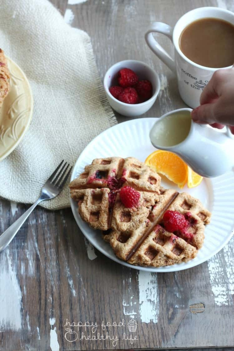 Whole Wheat Raspberry Leige Waffles with Lemon Syrup | www.happyfoodhealthylife.com