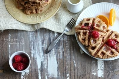Whole Wheat Raspberry Liege Waffles with Lemon Syrup