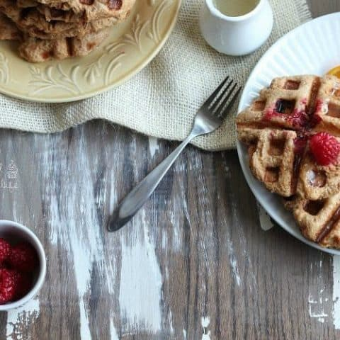 Whole Wheat Raspberry Leige Waffles with Lemon Syrup