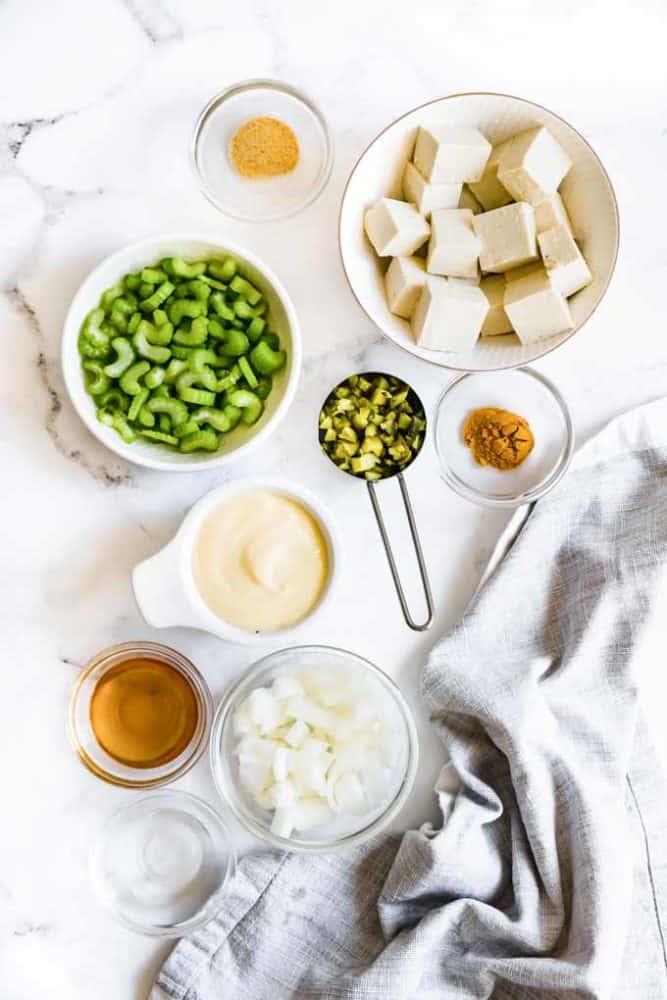 ingredients needed for vegan egg salad sandwich