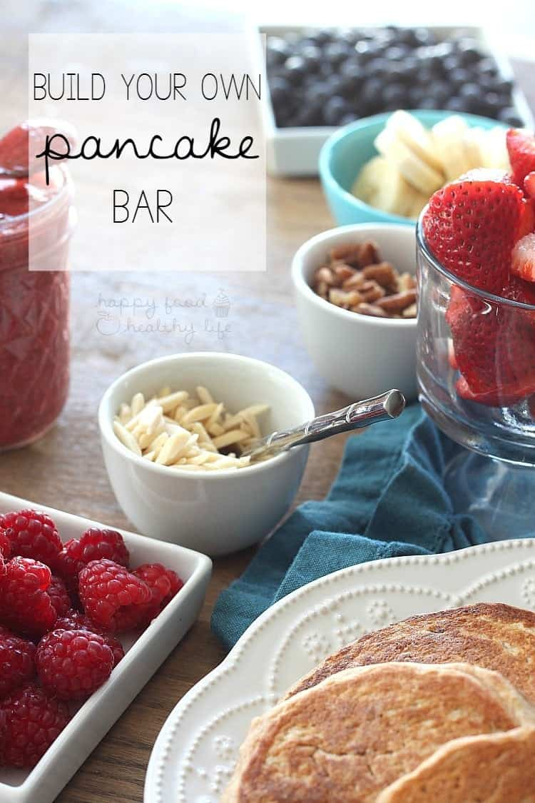 This HEALTHY PANCAKE BAR is sure to please your entire family. Everyone gets to top their pancakes with toppings of their choice, so there shouldn't be any complaining! | www.happyfoodhealthylife.com