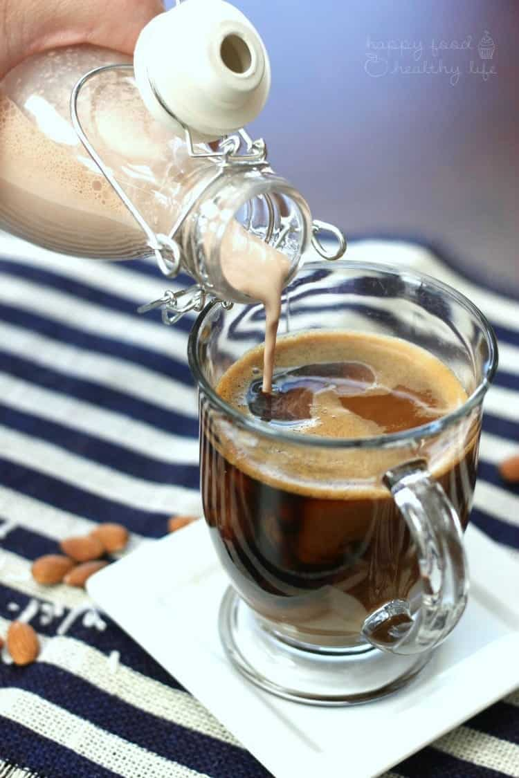 "Dairy-Free Almond Joy Coffee Creamer - want the sweetness of store-bought creamer without all the ""junk?"" Make yours at home with natural ingredients! 