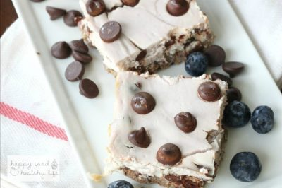 Light Berry Dark Chocolate Chip Cheesecake Bars