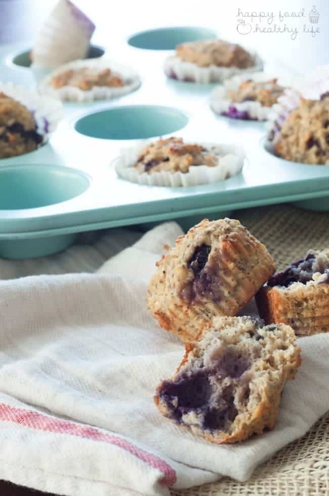 Whole Wheat Lemon Blueberry Protein Muffins | Happy Food Healthy Life