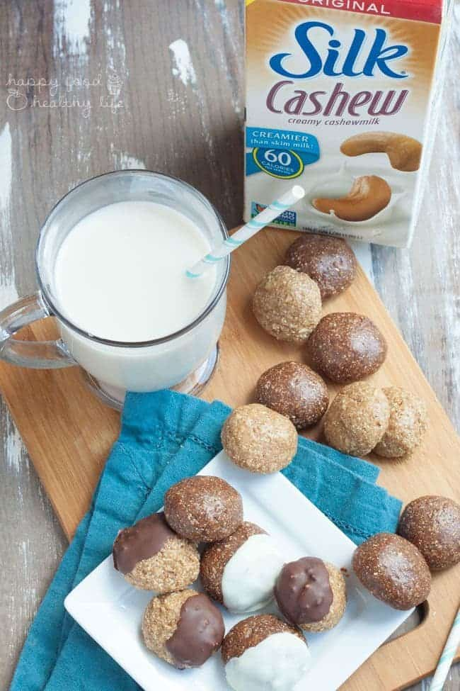 Healthy Chocolate or Vanilla No-Bake Cookie Dough Bites | Whether you like vanilla or chocolate, you are going to love everything about these healthy protein balls. And they're 100% no-bake! | Happy Food Healthy Life.com #SilkCashew