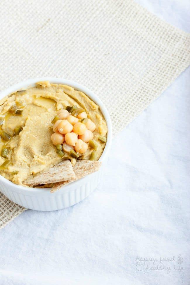 Vegan Roasted Jalapeno Cheddar Hummus | Happy Food Healthy Life