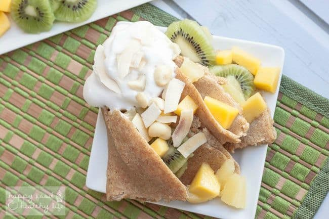 Whole Wheat Tropical Crepes - Create your own paradise at home with Whole Wheat Tropical Crepes that combine my love of Paris and my dreams of visiting the tropics. A perfect breakfast or dessert for the weekend. | happy food healthy life