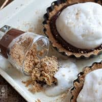 Vegan S'mores Dessert Served Two Ways - Make the 3 super simple components of this recipe and YOU choose how to serve it. Either as a mini tart or a mini dessert shooter - Either way, it's delicious, totally vegan, and even a little healthy! | Happy Food Healthy Life