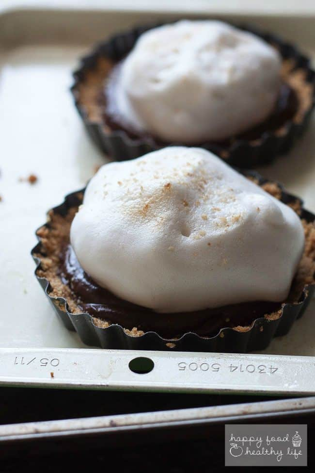 Vegan S'mores Dessert Served Two Ways - Make the 3 super simple components of this recipe and YOU choose how to serve it. Either as a mini tart or a mini dessert shooter - Either way, it's delicious, totally vegan, and even a little healthy!   Happy Food Healthy Life