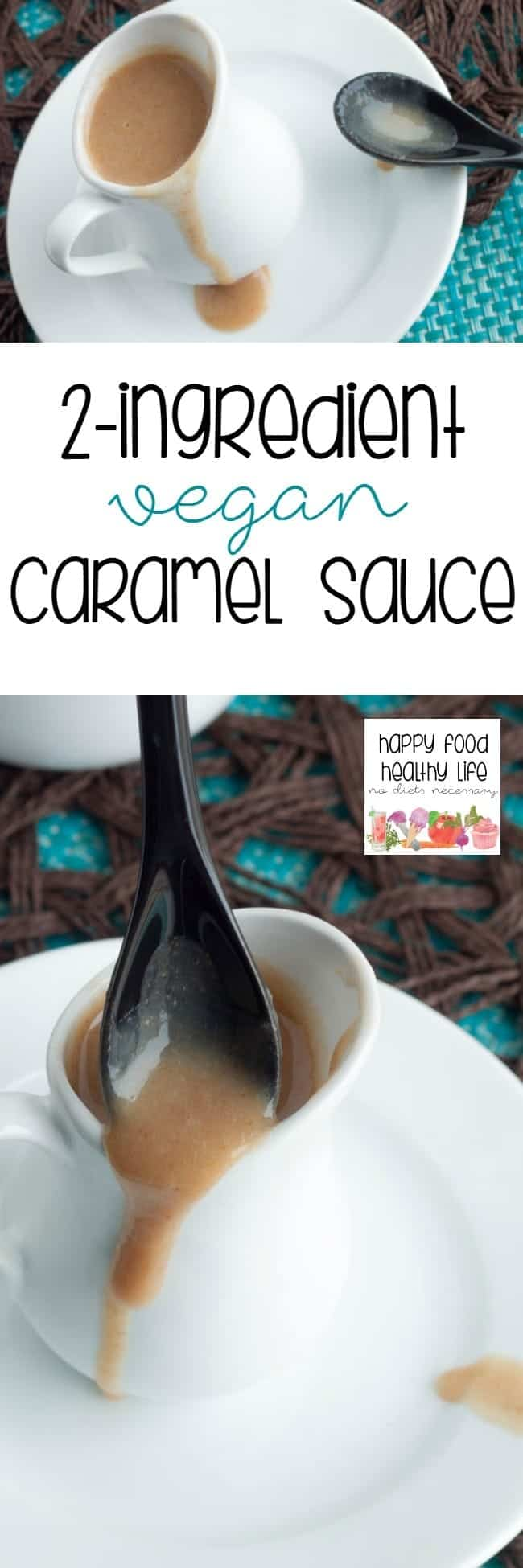 2-Ingredient Vegan Caramel Sauce - 2 healthy ingredients come together in just minutes to bring you a caramel sauce to top your ice cream, cakes, and parfaits without the guilt!