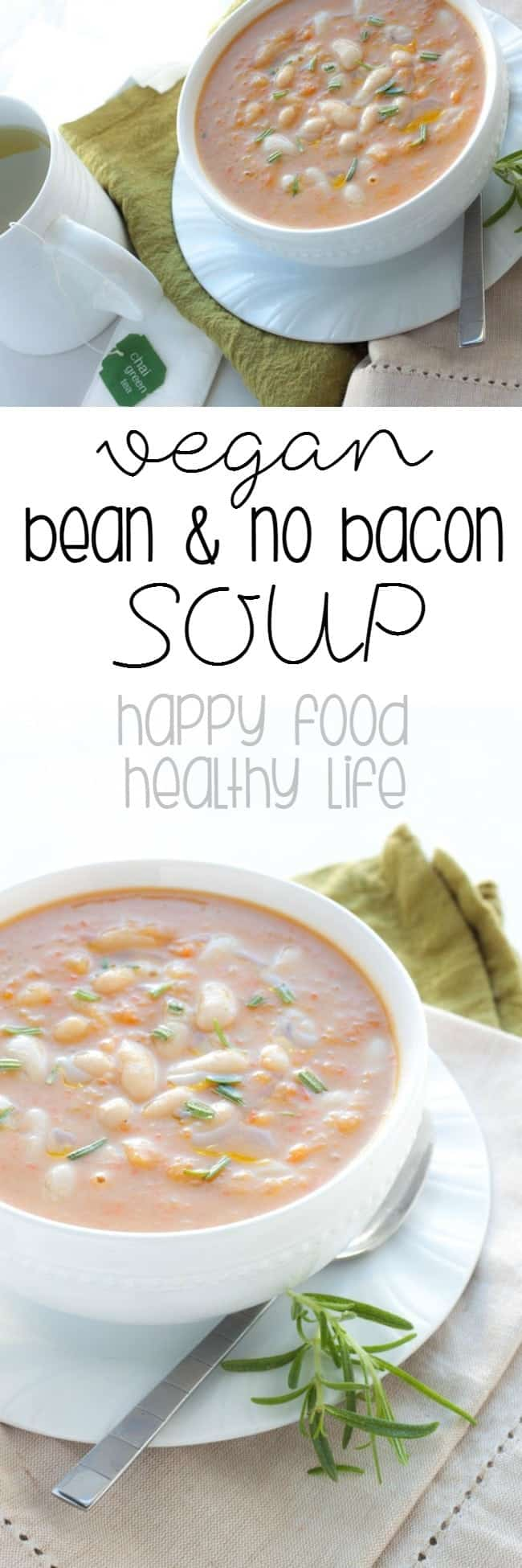 """Bean and No Bacon Soup Recipe - Love the classic Campbells soup but could do without the bacon or the """"soup from a can?"""" How about this copycat version with no bacon and more nutrients! vegetarian, vegan, and healthy!"""