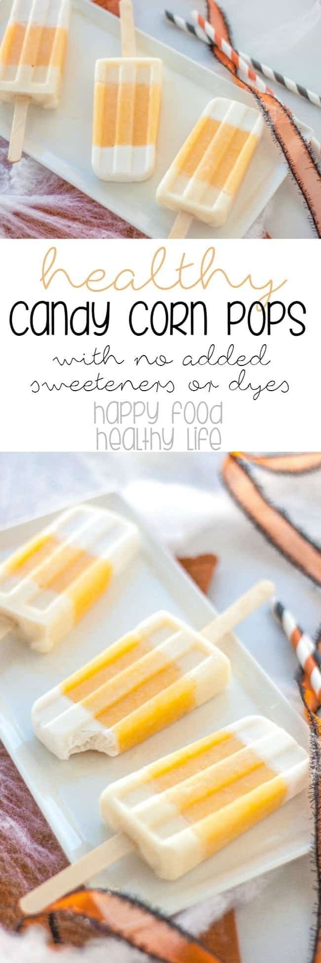 Healthy Candy Corn Frozen Fruit Pops - A dye-free, sugar-free alternative to those nasty halloween candies! These healthy popsicles are sure to satisfy your kid's (or YOUR) sweet tooth!