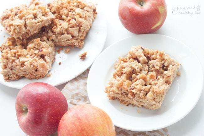 Healthy Apple Crumble Breakfast Bars - Happy Food, Healthy Life