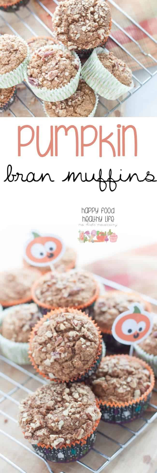 Pumpkin Bran Muffins - These muffins are the perfect fall-inspired healthy snack or breakfast