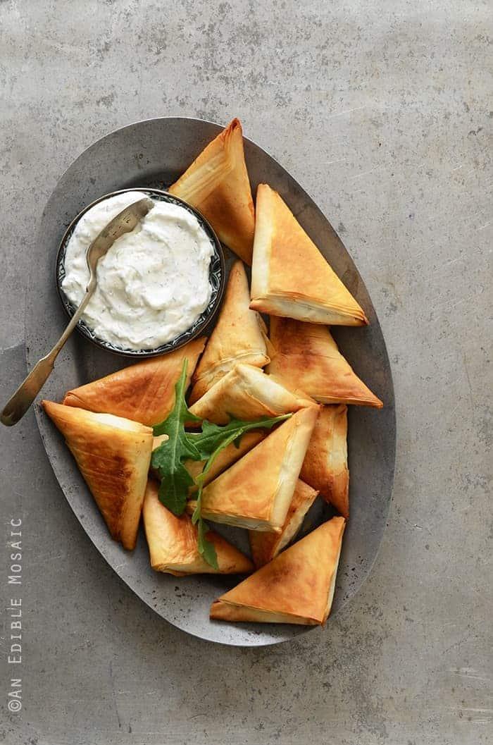 Crispy-Baked-Kale-Phyllo-Triangles-with-3-Ingredient-Feta-Yogurt-Dip