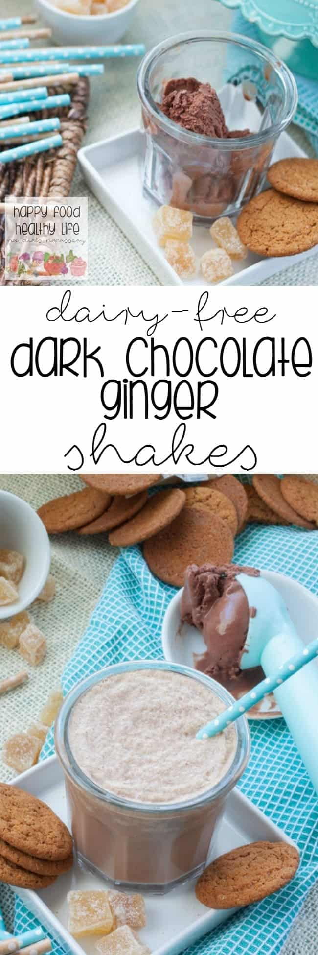 Dairy-Free Dark Chocolate Ginger Snap Shakes - a delicious chocolatey treat that has a kick of gingery spice. Only 4 ingredients! Oh, and it's dairy-free too!
