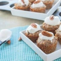Healthy Mini Pecan Pie Bites - These cute little pie bites are the perfect way to indulge in just a couple of bites of this healthy dessert that has gotten a makeover!
