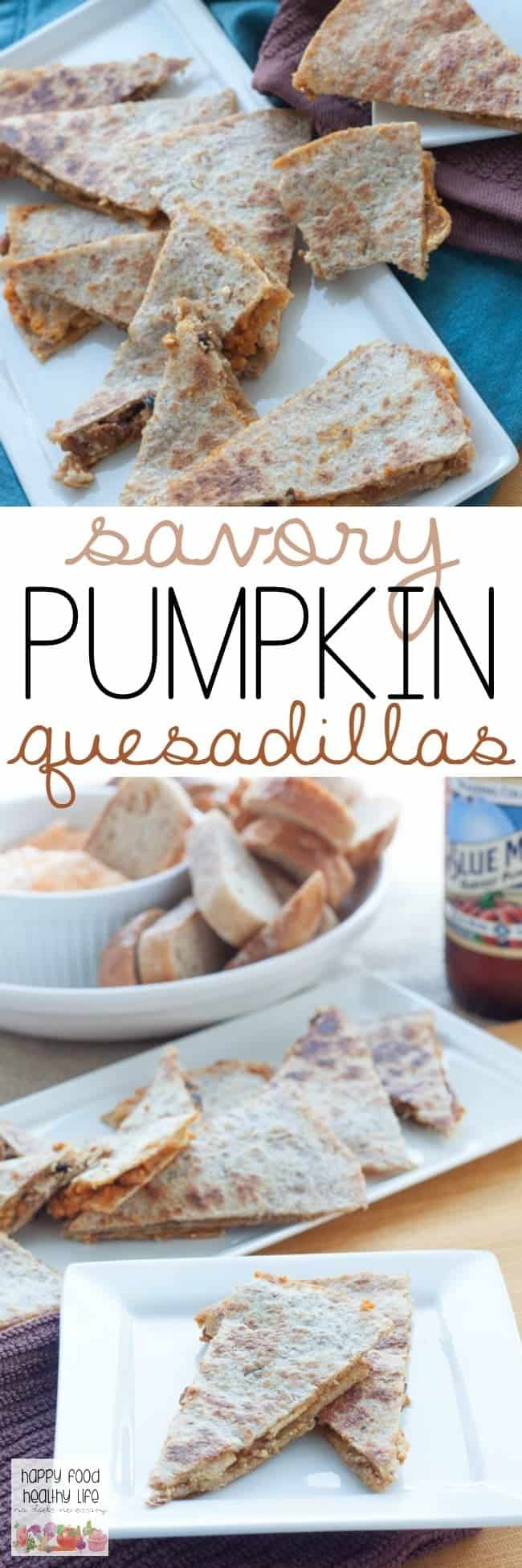 Savory Pumpkin Quesadillas - a perfect blend of savory and sweet. Great as an appetizer for Thanksgiving, football, or just a healthy afternoon snack.
