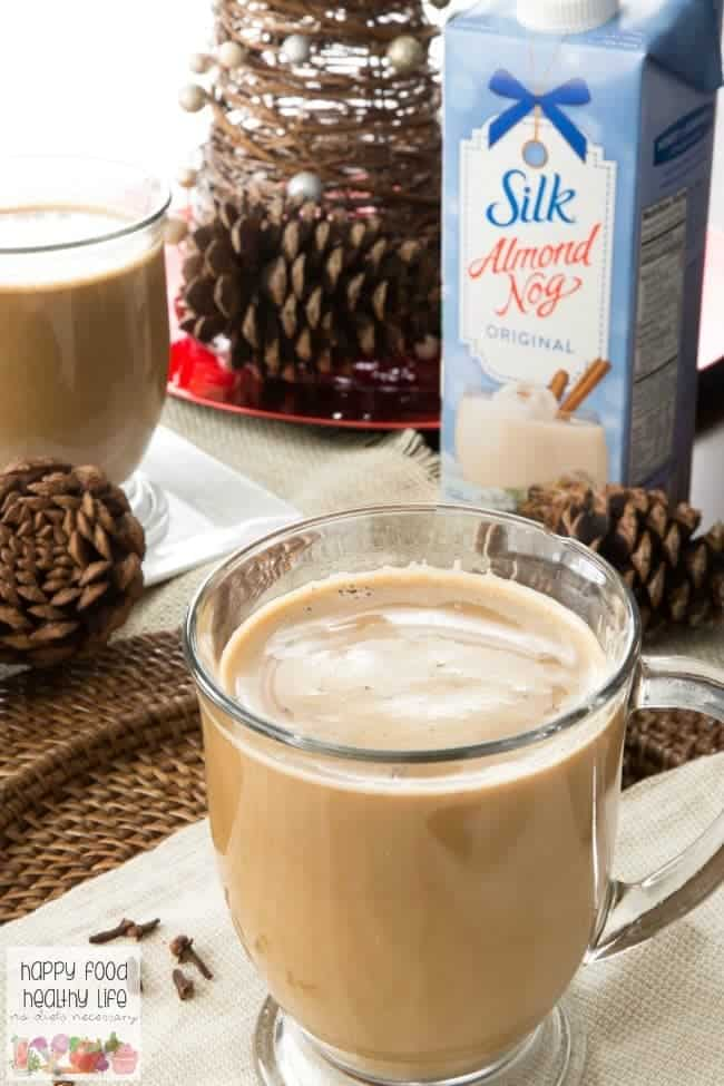 This Vegan Eggnog Chai Latte is sure to warm you up from the inside out with all the delicious warm spices and creamy almond milk eggnog