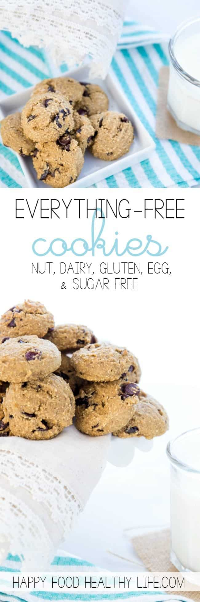 These Everything-Free Cookies are for absolutely everyone. Dairy-free, Gluten-free, Egg-free, Nut-free, and Sugar-free. You simply can't go wrong with this delicious recipe because the one thing they're not free of is FLAVOR! Click through to get my new favorite cookie recipe (and also to learn how I managed to find control around cookie dough!!)