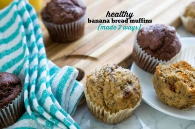 Healthy Banana Bread Muffins – Made 2 Ways (Peanut Butter Chip & Double Chocolate Chip)
