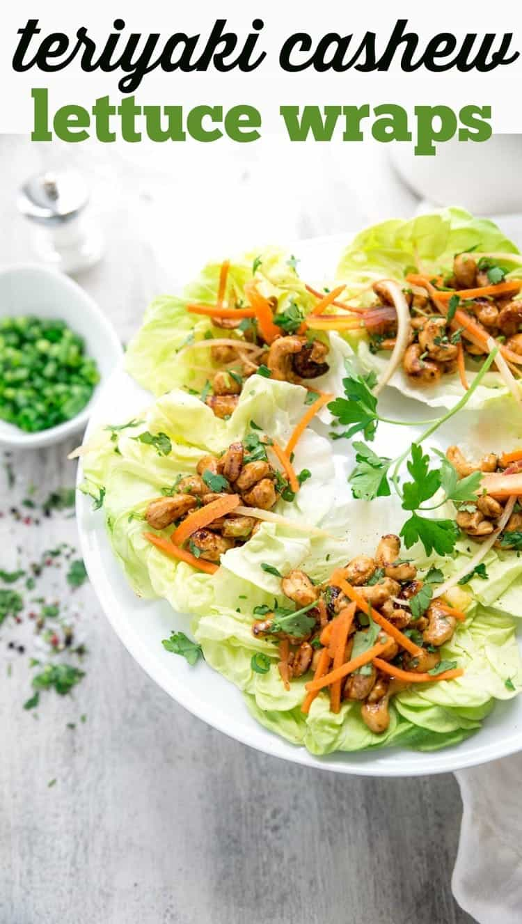 Not in the mood to heat up the whole house for dinner this summer? This quick and easy Vegan meal comes together in no time at all and is totally fresh for those summer days ahead. Teriyaki Cashew Lettuce Wraps are full of delicious flavor that won't leave you missing the meat at all.