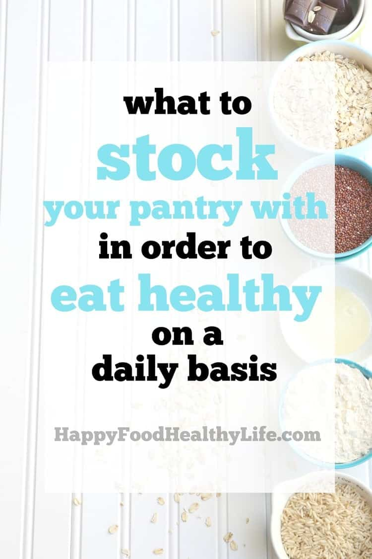 What foods should I stock my pantry with in order to eat healthy every day? That is the age-old question. What should I eat? What are the healthiest foods? This is a great resource for knowing what to stock your pantry with to always have healthy foods on hand... without busting your budget