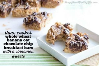 Slow Cooker Whole Wheat Banana Oat Chocolate Chip Breakfast Bars with Cinnamon Drizzle