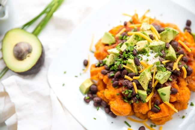 Southwestern Sweet Potato Waffles - This 5-minute dinner is perfect for busy weeknight dinners. Healthy, meat-free, and totally fool-proof.