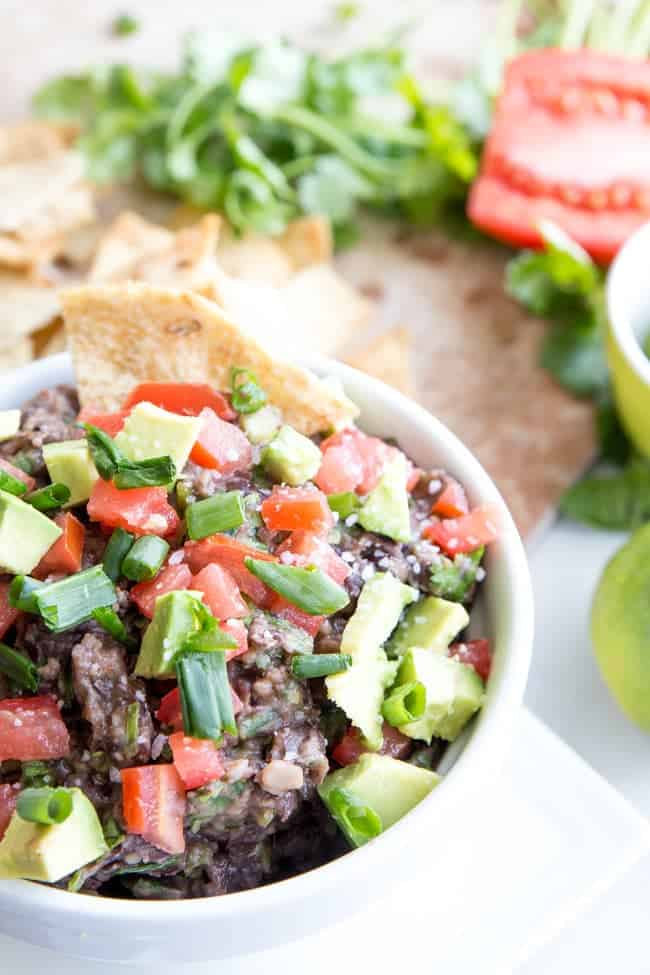 Black Bean Cilantro Dip - Perfect Dip for game day, movie night, or just for snacking on chips. Totally healthy. Totally real food. Totally YUM!