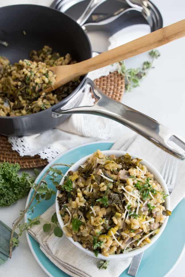 Mushroom Barley Risotto | Vegetarian | Thanksgiving | Side Dish | Healthy Recipe
