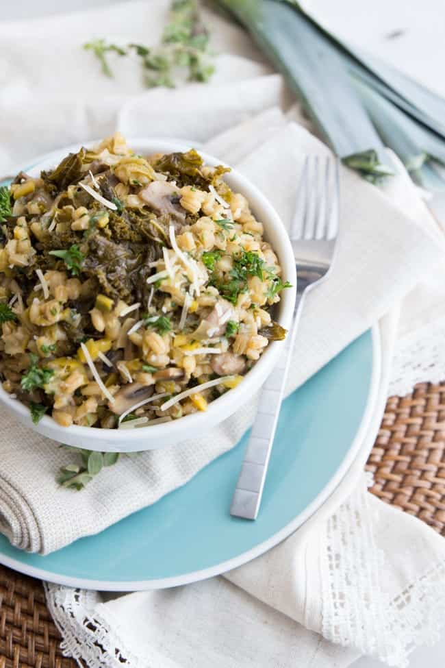 Mushroom Barley Risotto | Vegetarian | Thanksgiving | Side Dish | Healthy Recipe