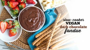 SLOW COOKER VEGAN DARK CHOCOLATE FONDUE | DESSERT | DAIRY FREE | VALENTINES DAY | DATE NIGHT