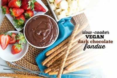 Slow-Cooker Vegan Dark Chocolate Fondue