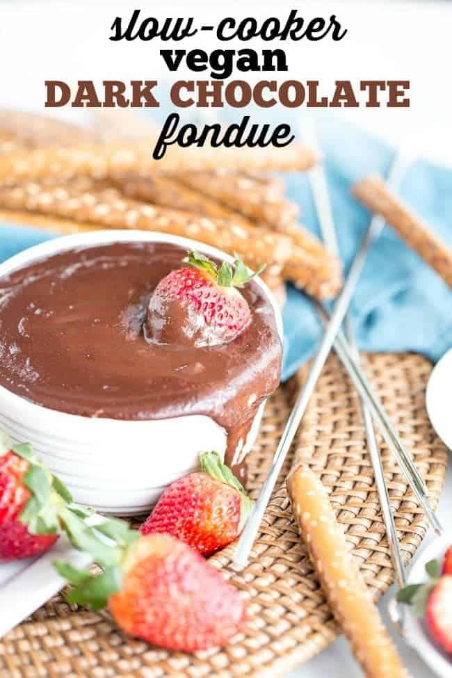 SLOW COOKER VEGAN DARK CHOCOLATE FONDUE | DESSERT | DAIRY FREE | VALENTINES DAY | DATE NIGHT
