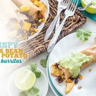 Crispy Black Bean Sweet Potato Baked Burritos