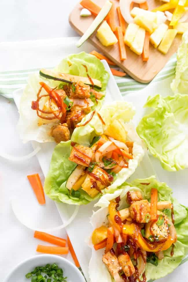 Hawaiian BBQ Tempeh Lettuce Cups | Vegetarian | Vegan | Healthy Recipe | Easy Recipe | Dinner | Meatless Monday