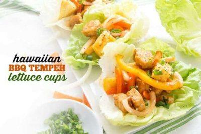 Hawaiian BBQ Tempeh Lettuce Cups