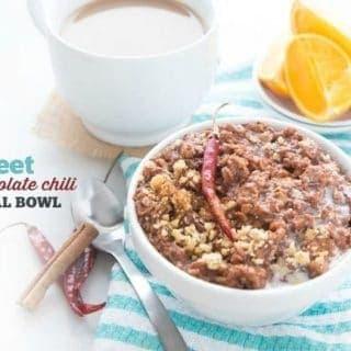 Sweet Dark Chocolate Chili Oatmeal Bowl