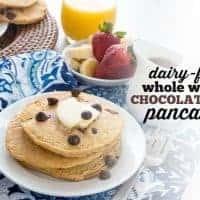 Dairy-Free Whole Wheat Chocolate Chip Pancakes